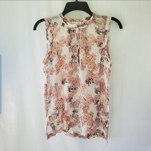 Club Monaco silk XL Sleeveless Floral blouse